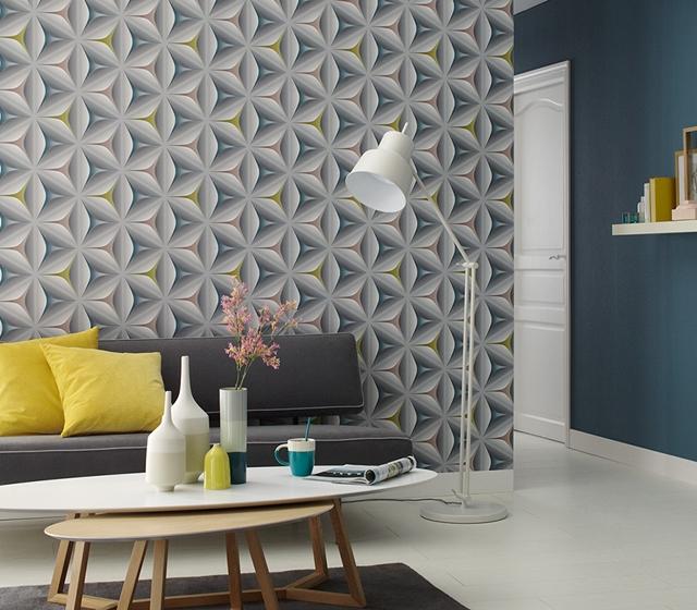 Wallpaper Geometris Berornamen Bunga